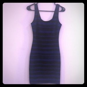 Dresses - Blue and black striped dress